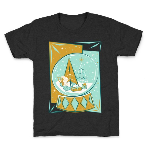 Mid-Century Modern Mermaid Holiday Snow Globe White Print Kids T-Shirt