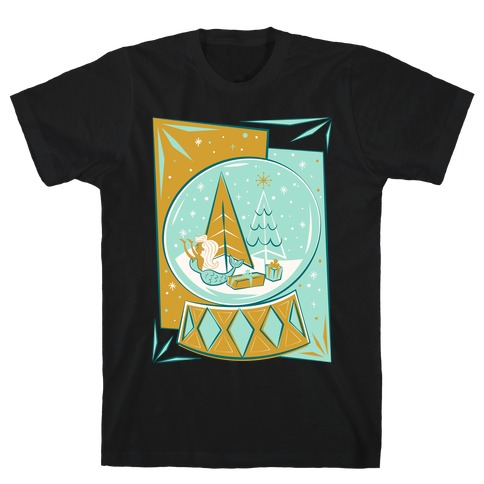 Mid-Century Modern Mermaid Holiday Snow Globe White Print T-Shirt