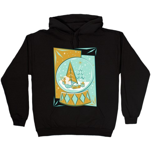 Mid-Century Modern Mermaid Holiday Snow Globe White Print Hooded Sweatshirt