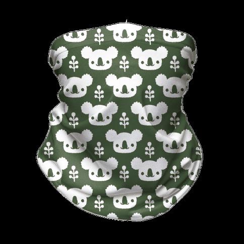 Koala and Eucalyptus Boho Pattern Green Neck Gaiter