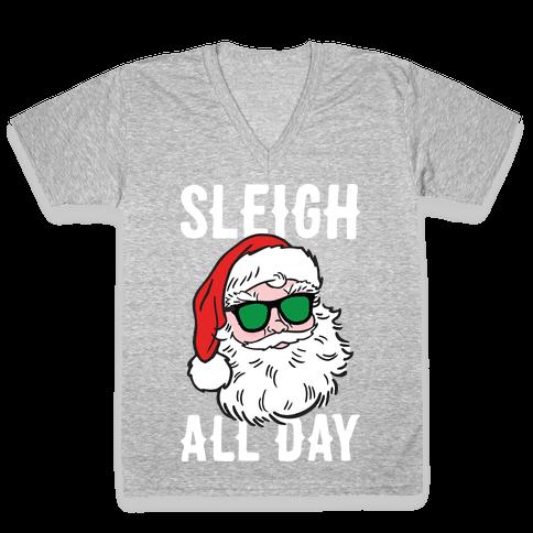 Sleigh All Day Santa (White) V-Neck Tee Shirt
