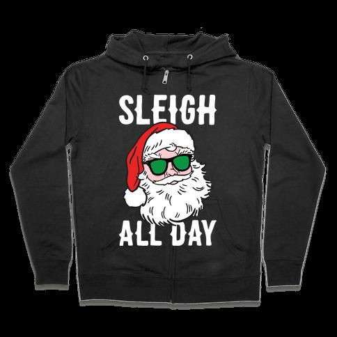Sleigh All Day Santa (White) Zip Hoodie
