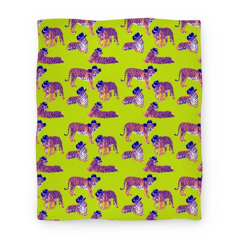 Tigers in Cowboy Hat Neon Pattern Blanket