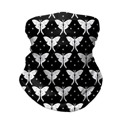 Luna Moth Black and White Boho Pattern Neck Gaiter