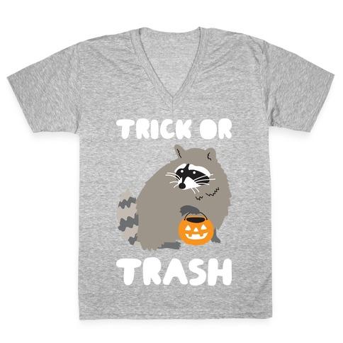 Trick Or Trash Raccoon V-Neck Tee Shirt