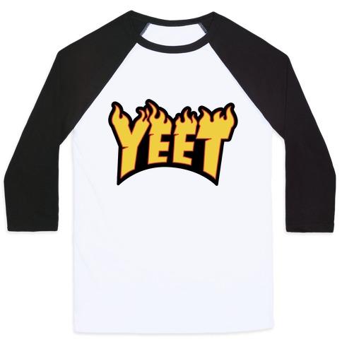 Yeet Thrasher Logo Parody Baseball Tee