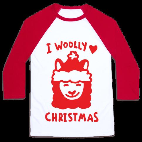 I Woolly Love Christmas Llama Baseball Tee