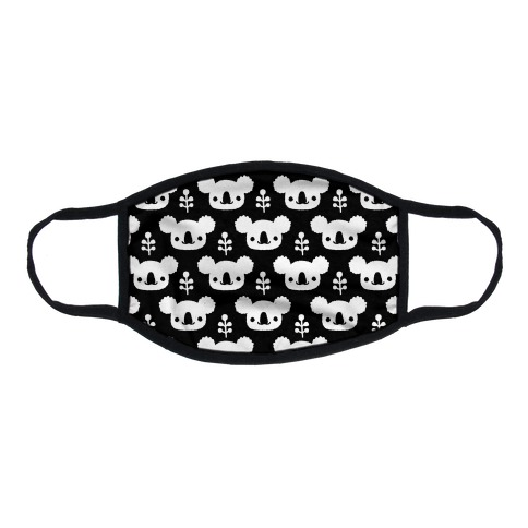 Koala and Eucalyptus Boho Pattern Black Flat Face Mask