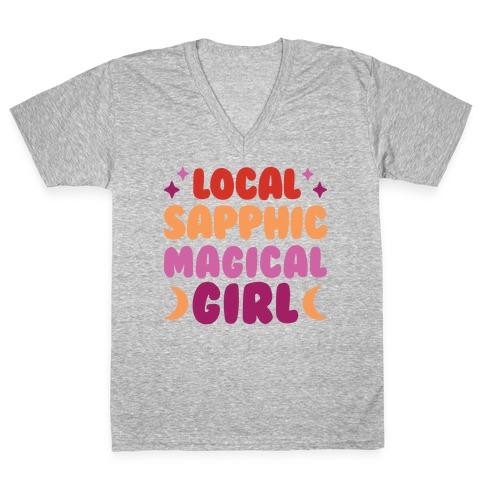 Local Sapphic Magical Girl V-Neck Tee Shirt