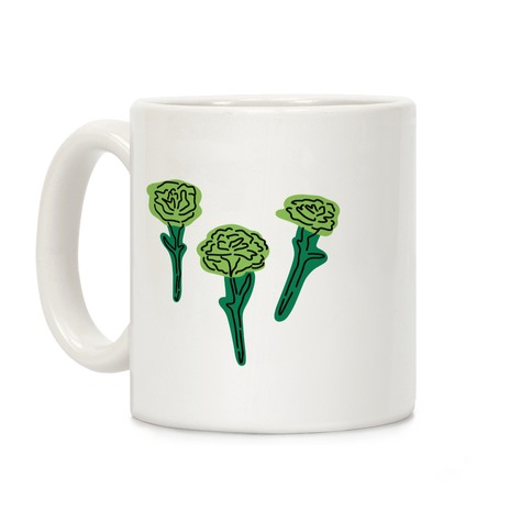 Green Carnation Pattern Coffee Mug