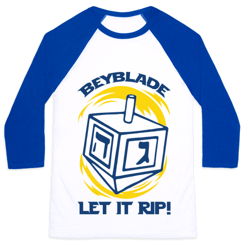 Beyblade Let It Rip Dreidel Baseball Tee