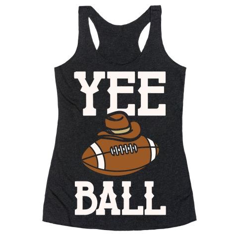 Yee Ball (Football) White Print Racerback Tank Top