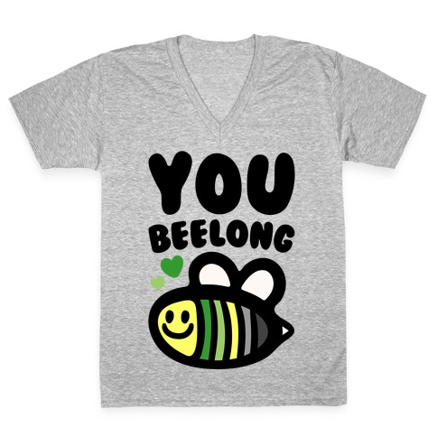 Bee Yourself Aromantic Pride V-Neck Tee Shirt