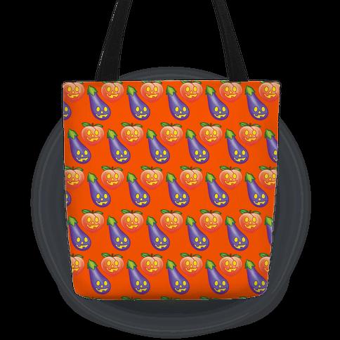 Eggplant and Peach Jack-O-Lantern Pattern Tote