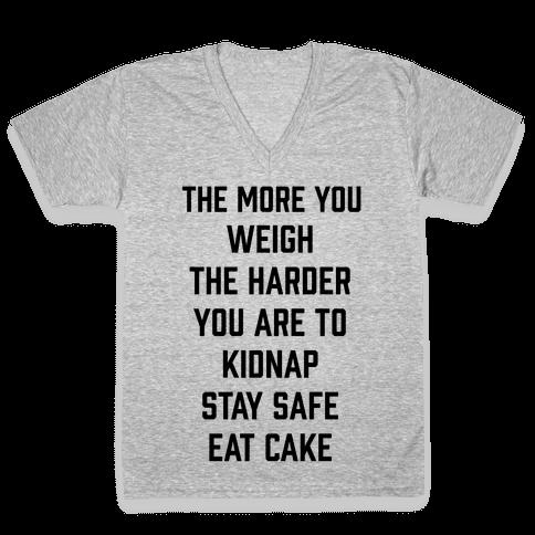 Stay Safe Eat Cake V-Neck Tee Shirt
