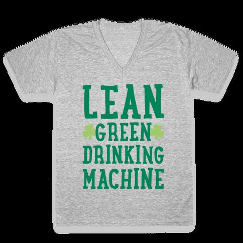 Lean Green Drinking Machine White Print V-Neck Tee Shirt