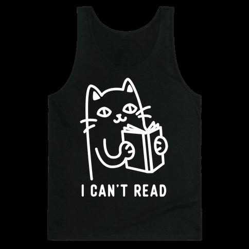 I Can't Read Cat Tank Top