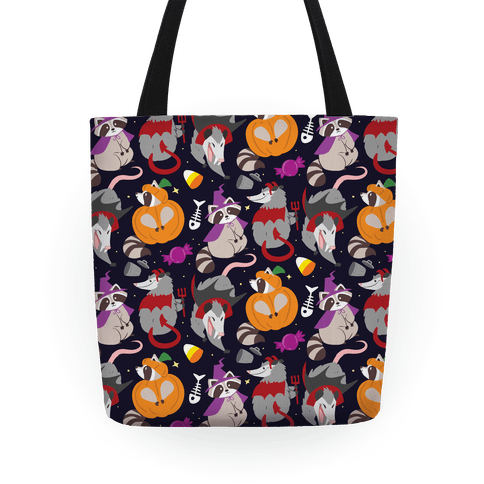 Trashy Animals Halloween Pattern Tote