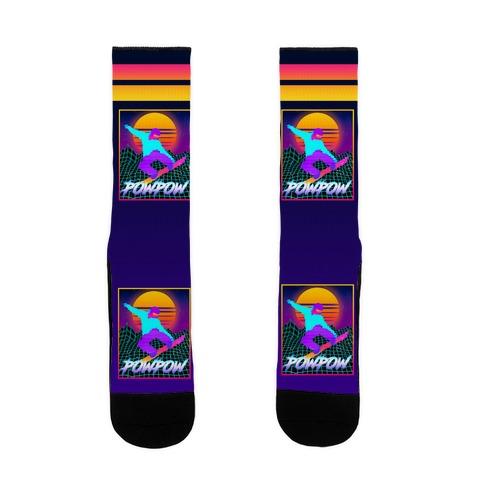 POWPOW Synthwave Snowboarder Sock