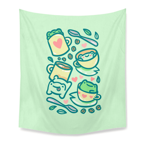 Coffee And Tea Frogs Tapestry