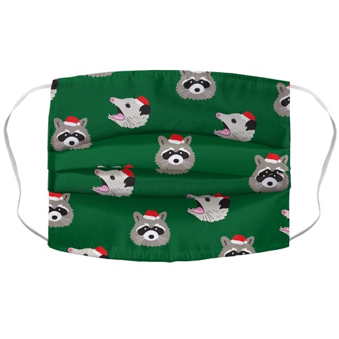 Christmas Raccoon and Opossum Pattern Accordion Face Mask