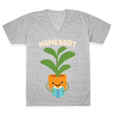 Homebody Reading Plant V-Neck Tee Shirt