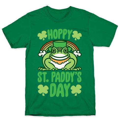 Hoppy St. Paddy's Day Frog White Print T-Shirt