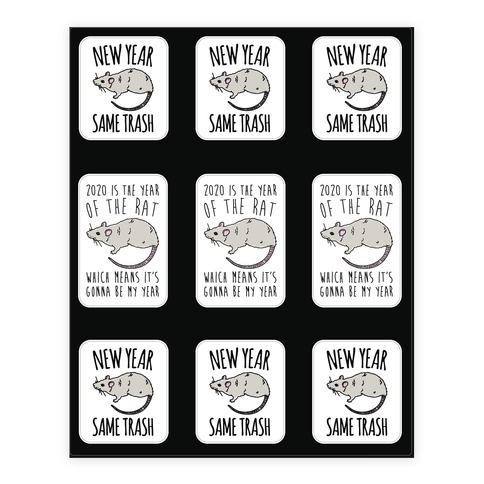 2020 Year of The Rat Trash Sticker Sheet Sticker/Decal Sheet