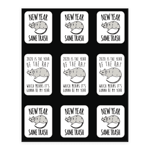 2020 Year of The Rat Trash Sticker Sheet Sticker and Decal Sheet
