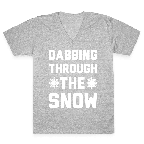 Dabbing Through The Snow  V-Neck Tee Shirt
