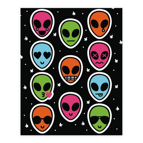 Rainbow Alien Emoji Sticker/Decal Sheet