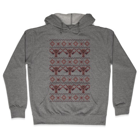 Cuterus Uterus Pattern Hooded Sweatshirt