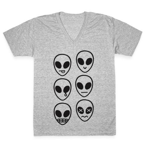 Alien Emojis V-Neck Tee Shirt