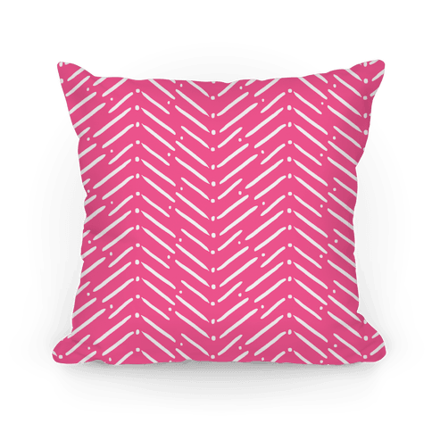 Pink Tribal Doodle Pattern Pillow