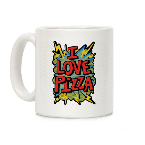 I Love Pizza Pop Art Coffee Mug