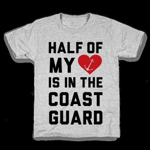 Half My Heart Is In The Coast Guard Kids T-Shirt