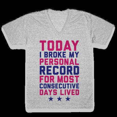 Consecutive Days Lived V-Neck Tee Shirt