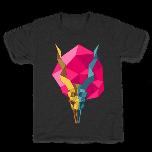 Geometric Blackbuck Skull Kids T-Shirt