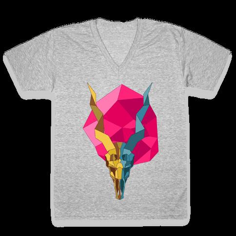 Geometric Blackbuck Skull V-Neck Tee Shirt