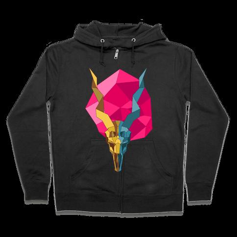 Geometric Blackbuck Skull Zip Hoodie