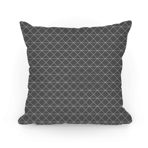 Gray Grid Pattern Pillow