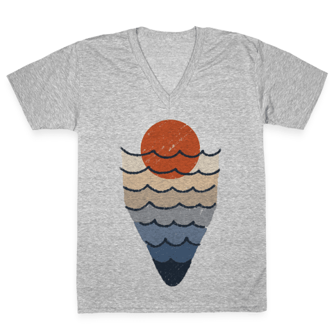Ocean Sketch V-Neck Tee Shirt