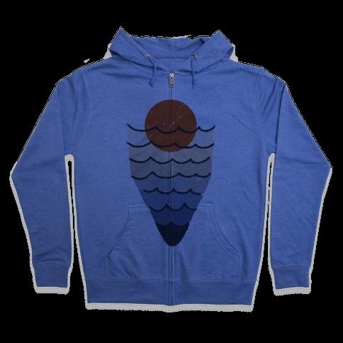 Ocean Sketch Zip Hoodie