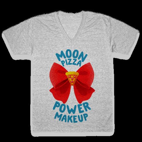Moon Pizza Power Makeup! V-Neck Tee Shirt