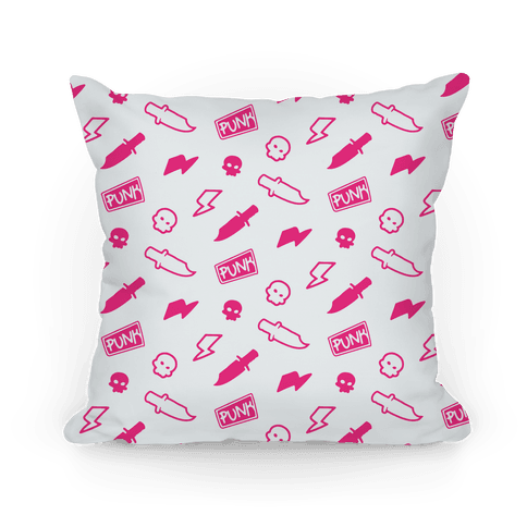 Pink Rebel Punk Pattern Pillow