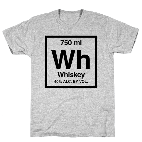 Whiskey Element (Periodic Alcohol) Mens T-Shirt