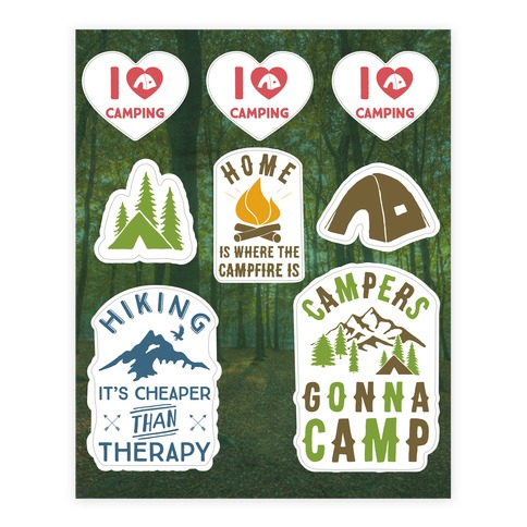 Camping  Sticker/Decal Sheet