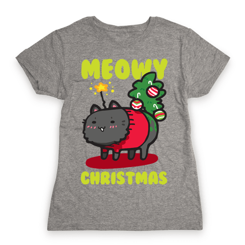 Meowy Christmas Womens T-Shirt