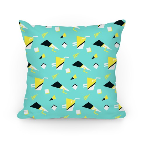 Teal 80s/90s Pattern Pillow