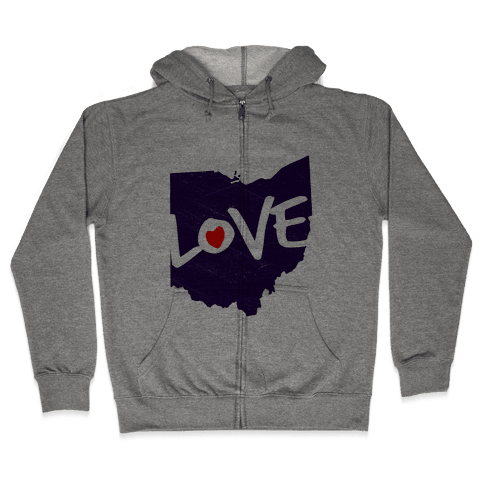 Love Ohio Zip Hoodie